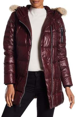 Andrew Marc Lexi Asymmetrical Genuine Coyote Fur Trim Quilted Jacket