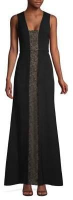 BCBGMAXAZRIA Lace Panel Sleeveless Gown