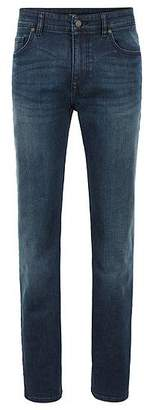 HUGO BOSS Relaxed-fit jeans in green-cast comfort-stretch denim
