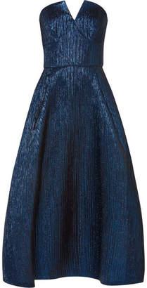 Roland Mouret Aldrich Strapless Metallic Woven Midi Dress - Blue