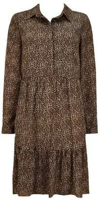 Wallis Stone Tiered Animal Print Shirt Dress