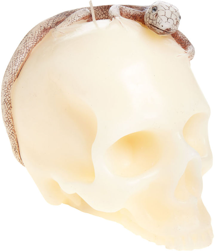 D.L. & Co. Skull with Lizard Candle