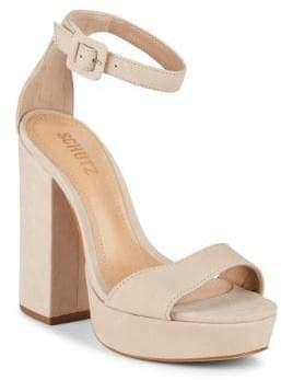 Schutz Mikella Suede Ankle-Strap Sandals