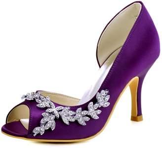 Elegantpark HP1542 Women Peep Toe Rhinestones Pumps High Heel Satin Wedding Bridal Dress Shoes US 9