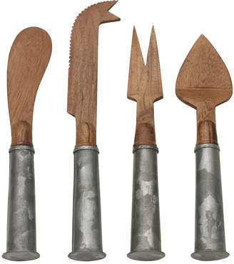Mikasa Towle® Living 4 Piece Galvanized Iron and Wood Cheese Set
