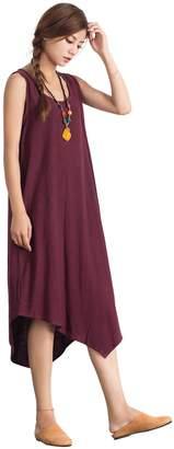 OverSize Women's Linen Cotton Soft Simple Sleeveless Dress Large Plus Clothing a66