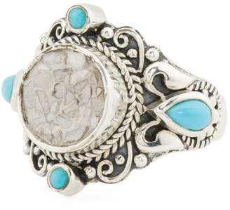 Handcrafted In Bali Sterling Silver Turquoise Diamond Ring