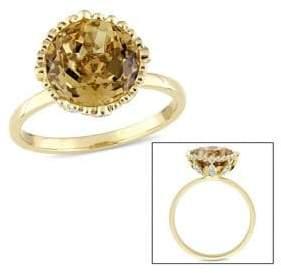 Concerto Citrine and 1/4 CT TW Diamond Hemisphere Ring in 14k Yellow Gold