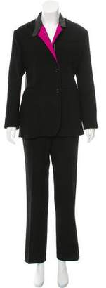 CNC Costume National Leather-Trimmed Wool Pantsuit