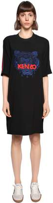 Kenzo Tiger Embroidered Crepe T-Shirt Dress