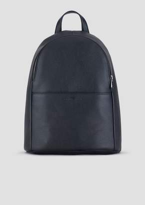 Emporio Armani Backpack In Grained Leather With Pressed Front Logo