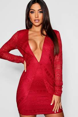 boohoo Lace Plunge Long Sleeve Bodycon Dress