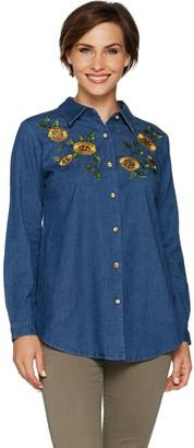 Factory Quacker Button Front Denim Tunic w/ Embellished Front Motif