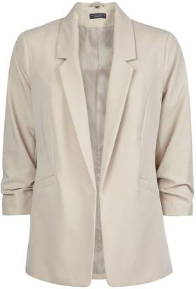 Dorothy Perkins Womens Stone Ruched Sleeve Jacket