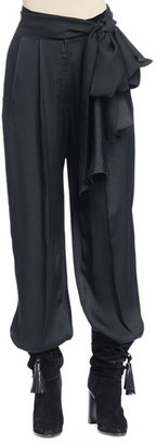 Lanvin Full-Leg Pants with Waist-Tie, Black $1,390 thestylecure.com
