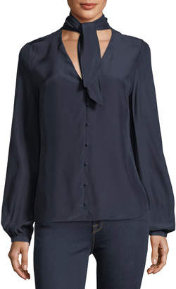 Frame V-Neck Button-Front Silk Blouse with Scarf-Tie