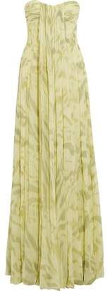 Halston Strapless Pleated Printed Silk-Chiffon Gown