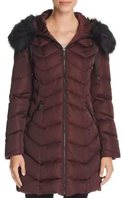 T Tahari Gwen Faux Fur Trim Quilted Puffer Coat