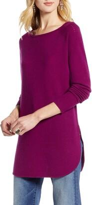 Halogen Shirttail Wool & Cashmere Boatneck Tunic