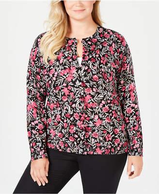 Karen Scott Plus Size Placed Floral-Print Cardigan