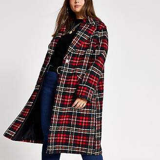 River Island Plus red tartan check longline coat