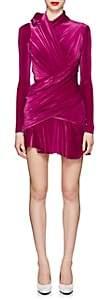 Balenciaga Women's Ruched Velvet Minidress - Pink