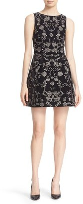 Women's Alice + Olivia 'Lindsey Pouf' Embroidered Sheath Dress $695 thestylecure.com