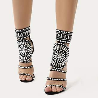 Public Desire Cleopatra Embellished Stiletto Heels Faux Suede