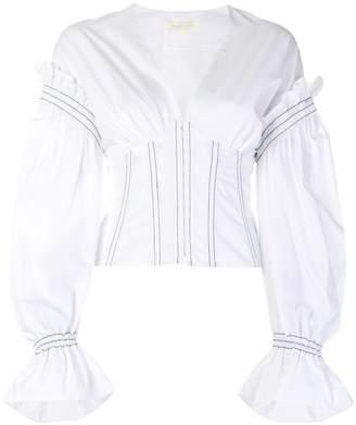 Jonathan Simkhai puff sleeve corset shirt