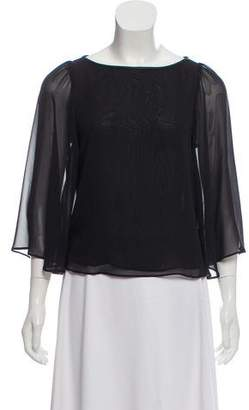 Alice + Olivia Leather-Trimmed Flared Blouse w/ Tags