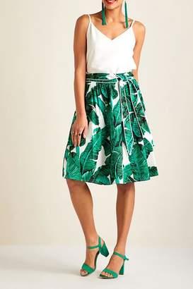 Yumi Palm Print Skirt
