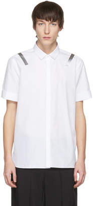 Neil Barrett White Short Sleeve Taped Shoulder Shirt