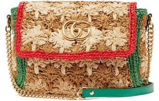 Gucci Gg Marmont Floral Raffia Macrame Shoulder Bag - Womens - Beige Multi