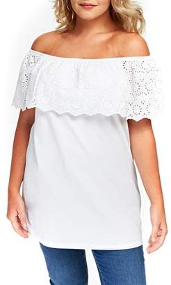 Evans Eyelet Off the Shoulder Top