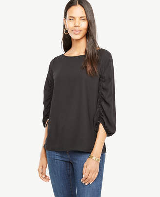 Ann Taylor Ruched Sleeve Blouse
