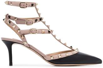 Valentino black and beige Rockstud 65 strappy leather pumps