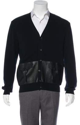 Valentino Leather-Accented Cardigan