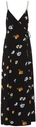 Ganni Dainty Georgette floral wrap dress
