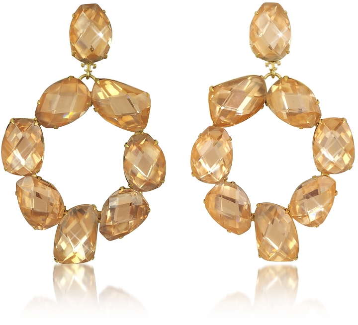 Tory BurchTory Burch Blossom Pink and Vintage Gold Stone Abstract Wreath Clip-On Earrings