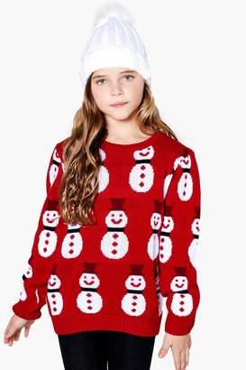 boohoo Girls Snowman Christmas Jumper