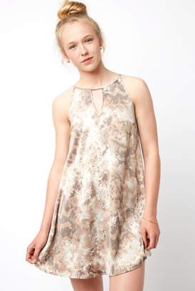 Black Swan Sleeveless Keyhole Snake Print Swing Dress