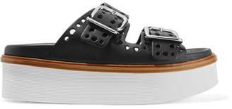 Tod's Laser-cut Leather Platform Sandals - Black