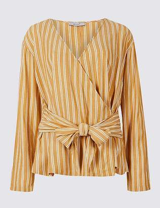Marks and Spencer Striped V-Neck Long Sleeve Wrap Top