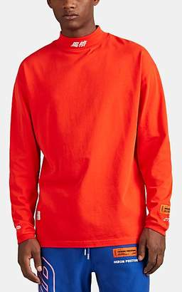 Heron Preston Men's Oversized Mock-Turtleneck Long-Sleeve T-Shirt - Orange