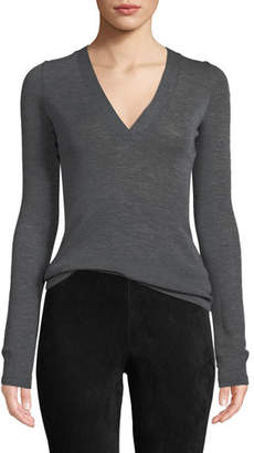 Vince Long-Sleeve Wool V-Neck Top