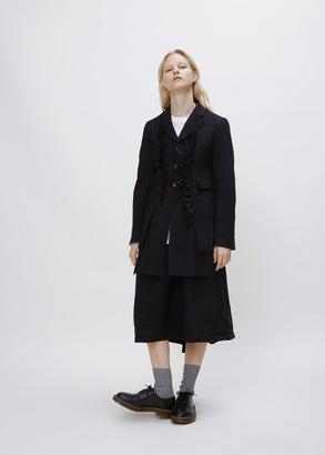 Comme des Garcons black ruffle front long coat $1,272 thestylecure.com