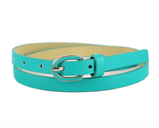 Neiman Marcus Enamel-Buckle Skinny Belt, Turquoise $20 thestylecure.com