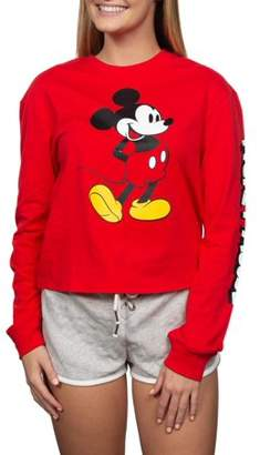 Juniors' Licensed Mickey Mouse Graphic Crop Long-Sleeve T-Shirt