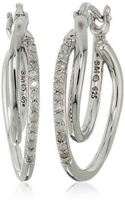 Sterling Silver Diamond Earrings (1/10cttw
