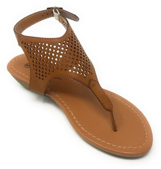 Victoria K Women's Laser Cut Out Pattern with Studded and Side Strap Wedge Sandals